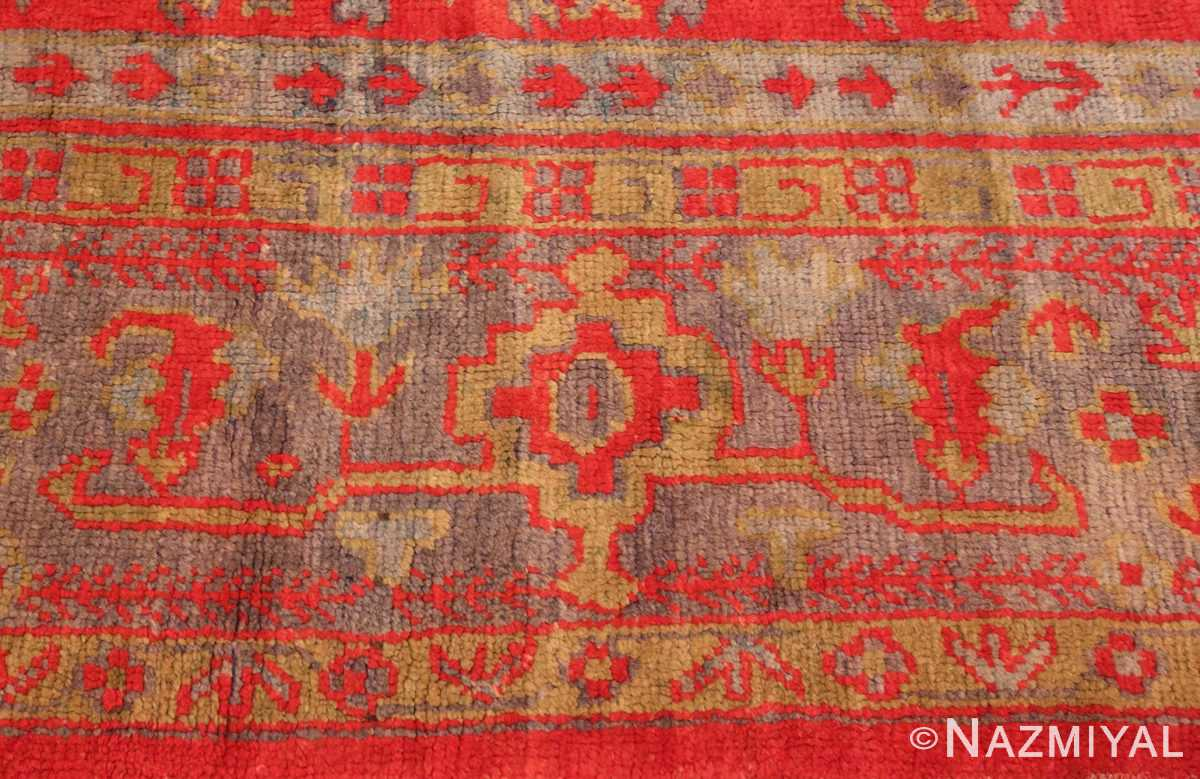 Picture of the border Of Large Red Antique Turkish Oushak Rug #70012 From Nazmiyal Antique Rugs in NYC