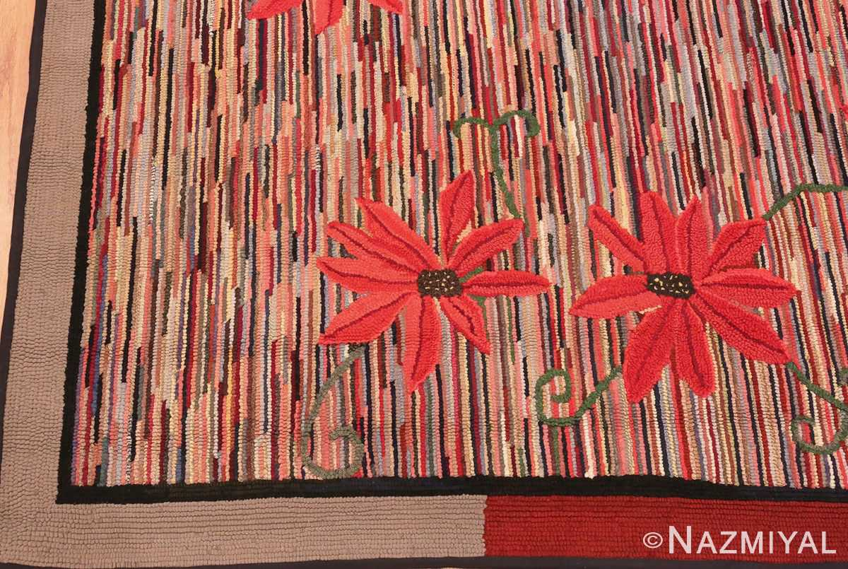 Picture of the border of Floral Antique American Hooked Rug #70055 from Nazmiyal Antique Rugs in NYC