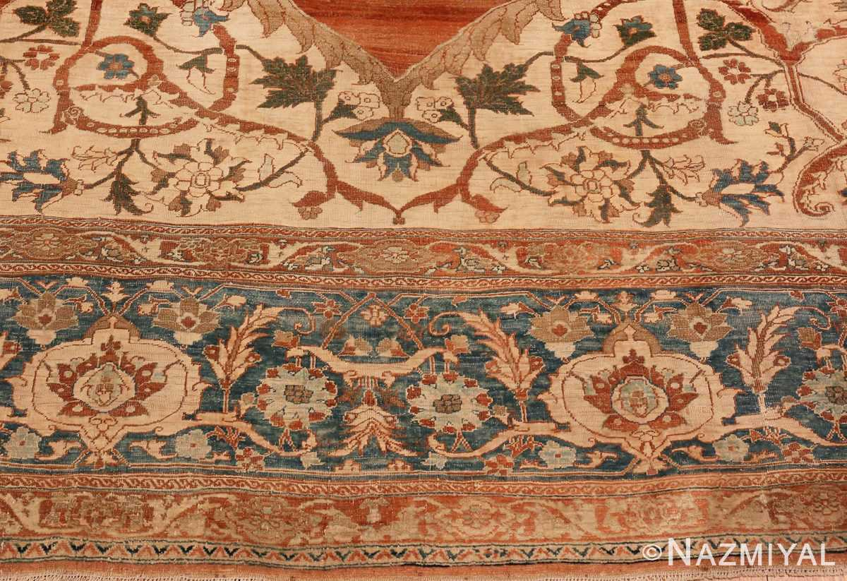 A picture of the border of Large Antique Tabriz Persian Rug #48815 from Nazmiyal Antique Rugs in NYC