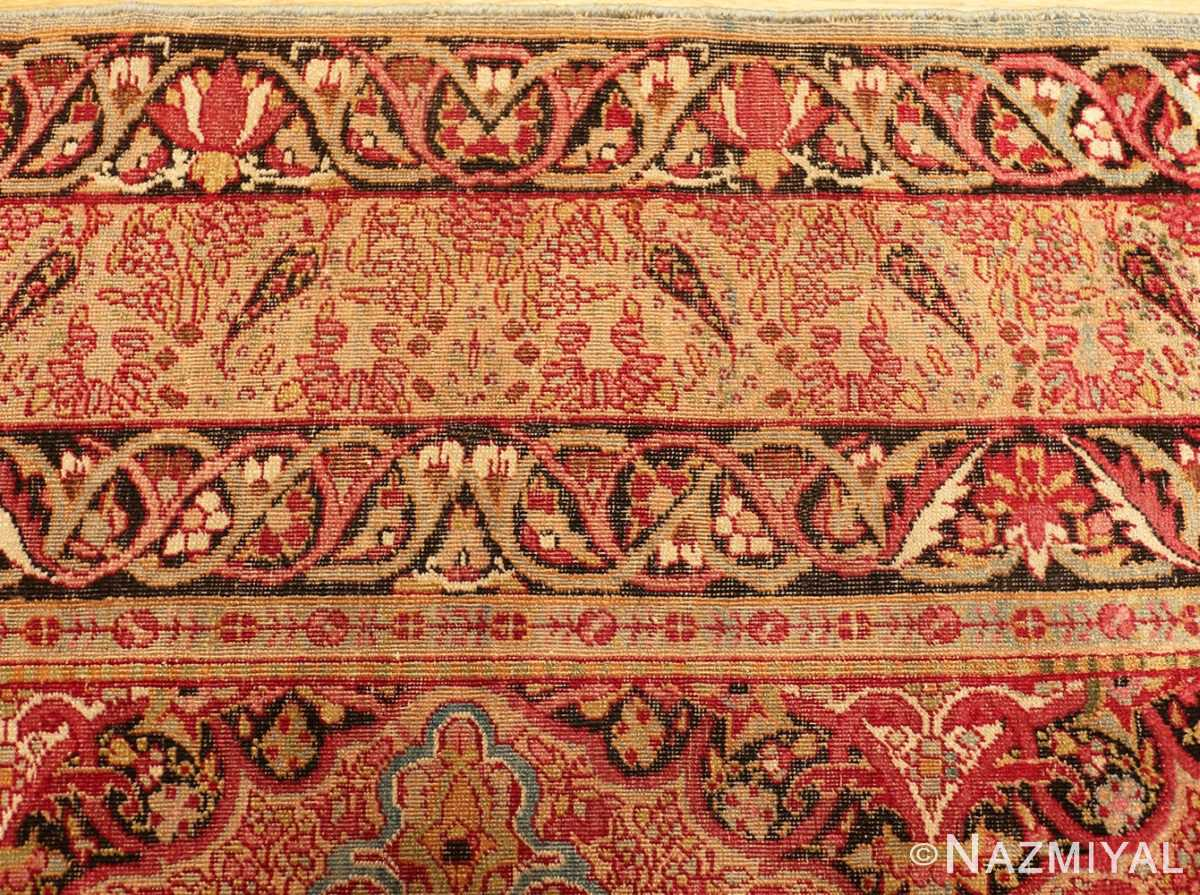 Picture of the border of Small Antique Persian Kerman Rug #49990 From Nazmiyal Antique Rugs in NYC