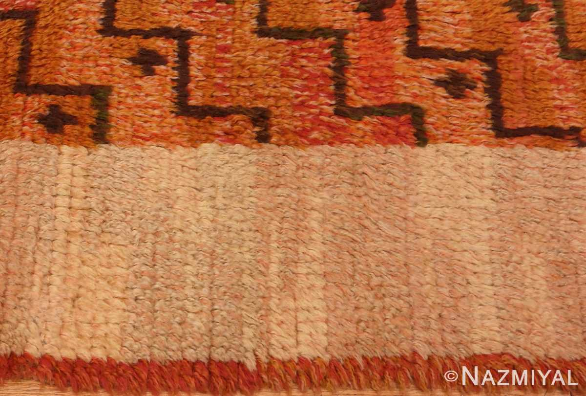 Picture of the border of the square vintage Scandinavian Swedish Rug #40294 from Nazmiyal Antique Rugs in NYC