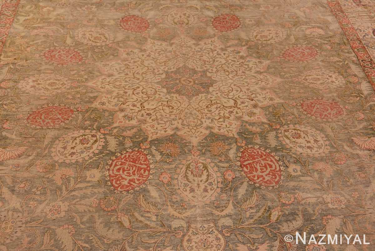 Picture of the Central Medallion of Antique Silk Turkish Kayseri Shabby Chic Rug #48938 From Nazmiyal Antique Rugs In NYC