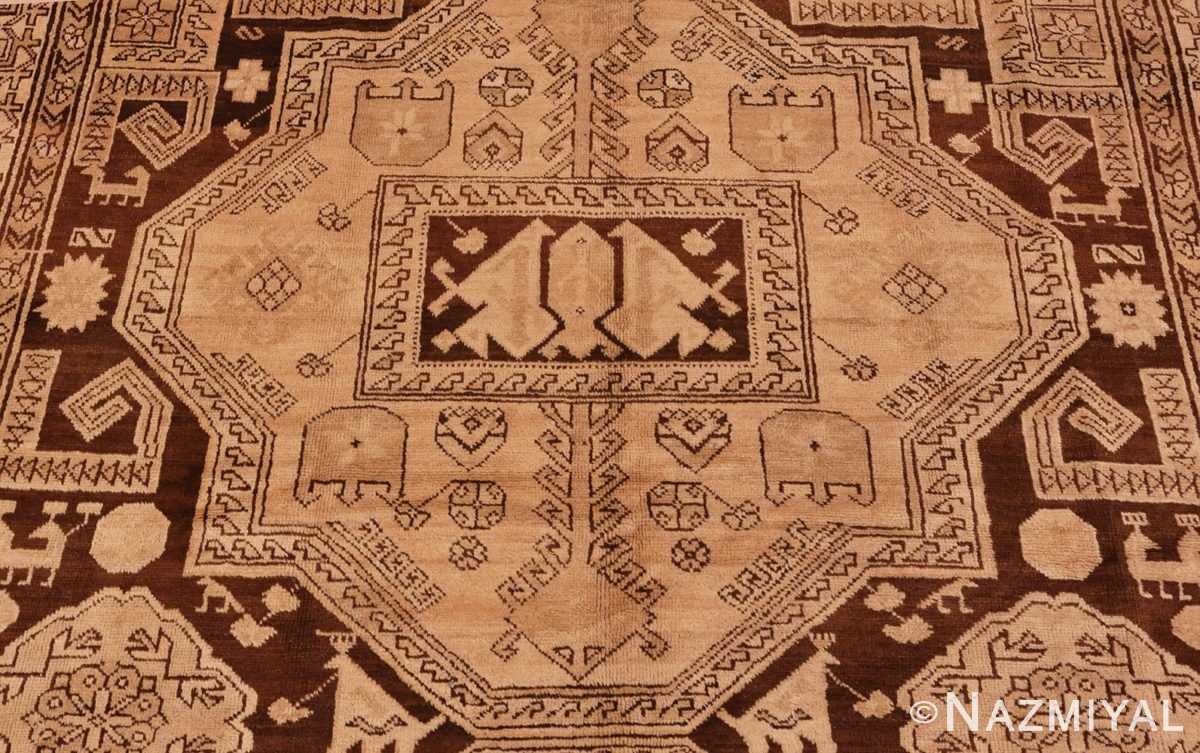 Picture of the center of Antique Caucasian Tribal Karabagh Rug #50494 from Nazmiyal Antique Rugs in NYC