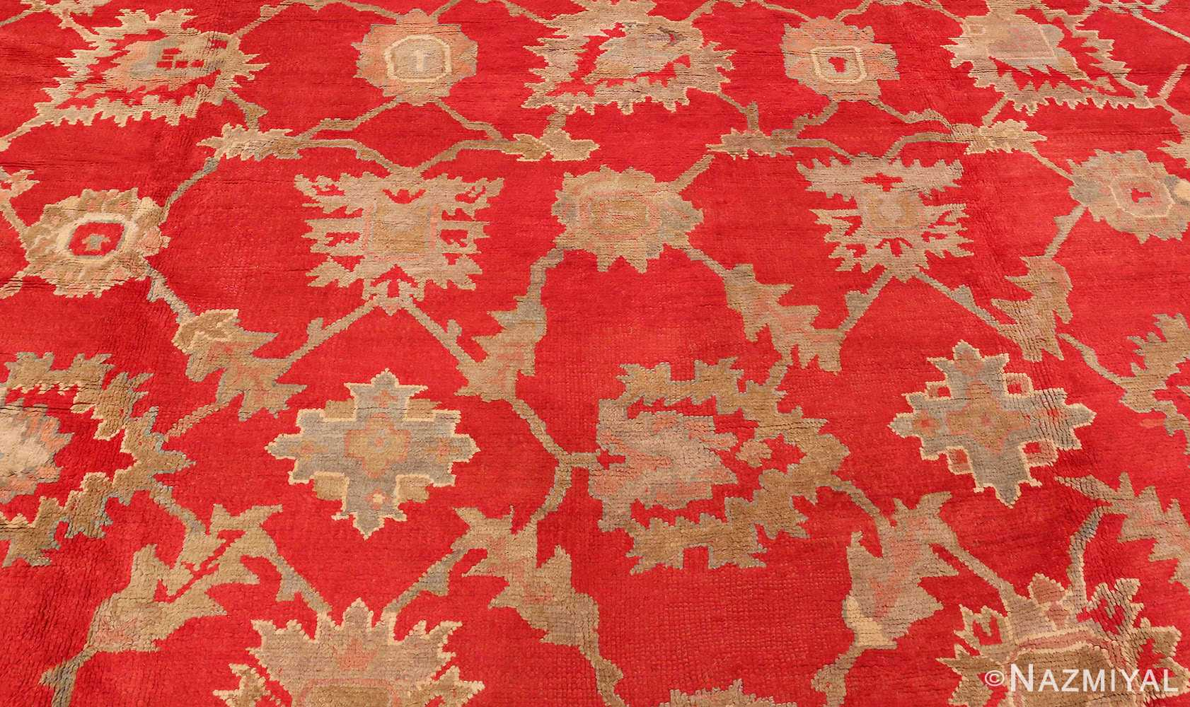 Picture of the Center Of Large Red Antique Turkish Oushak Rug #70012 From Nazmiyal Antique Rugs in NYC