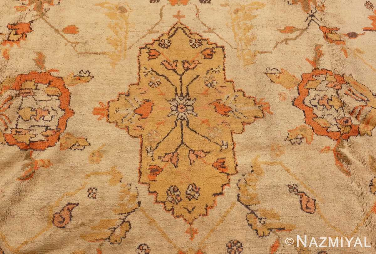 A Picture from the center of Large Antique Turkish Oushak Rug #50674 from Nazmiyal Antique Rugs in NYC