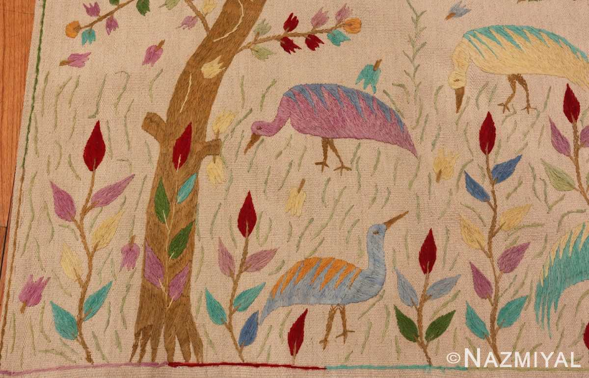 Picture of the center of Vintage Garden of Paradise Indian Tapestry #70062 from Nazmiyal Antique Rugs in NYC