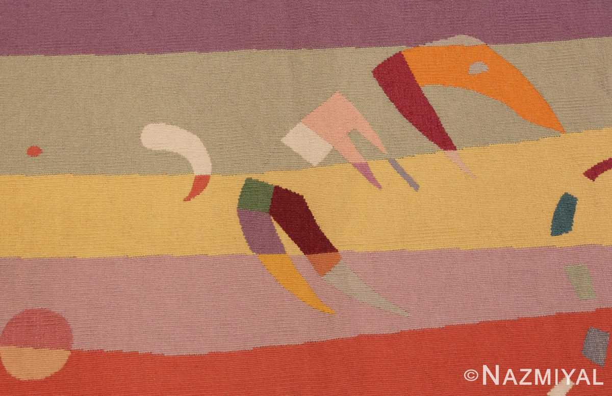 Close Up Picture of French Bauhaus Wassily Kandinsky Tapestry 41278 From Nazmiyal Antique Rugs in NYC