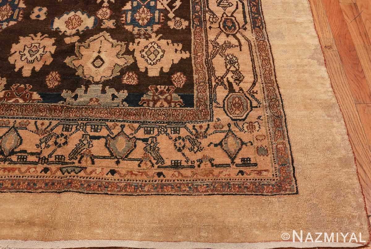 Picture of the Corner Of Brown Antique Persian Malayer Rug #48939 from Nazmiyal Antique Rugs in NYC