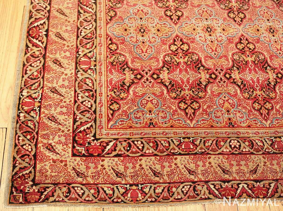 Picture of the corner of Small Antique Persian Kerman Rug #49990 From Nazmiyal Antique Rugs in NYC