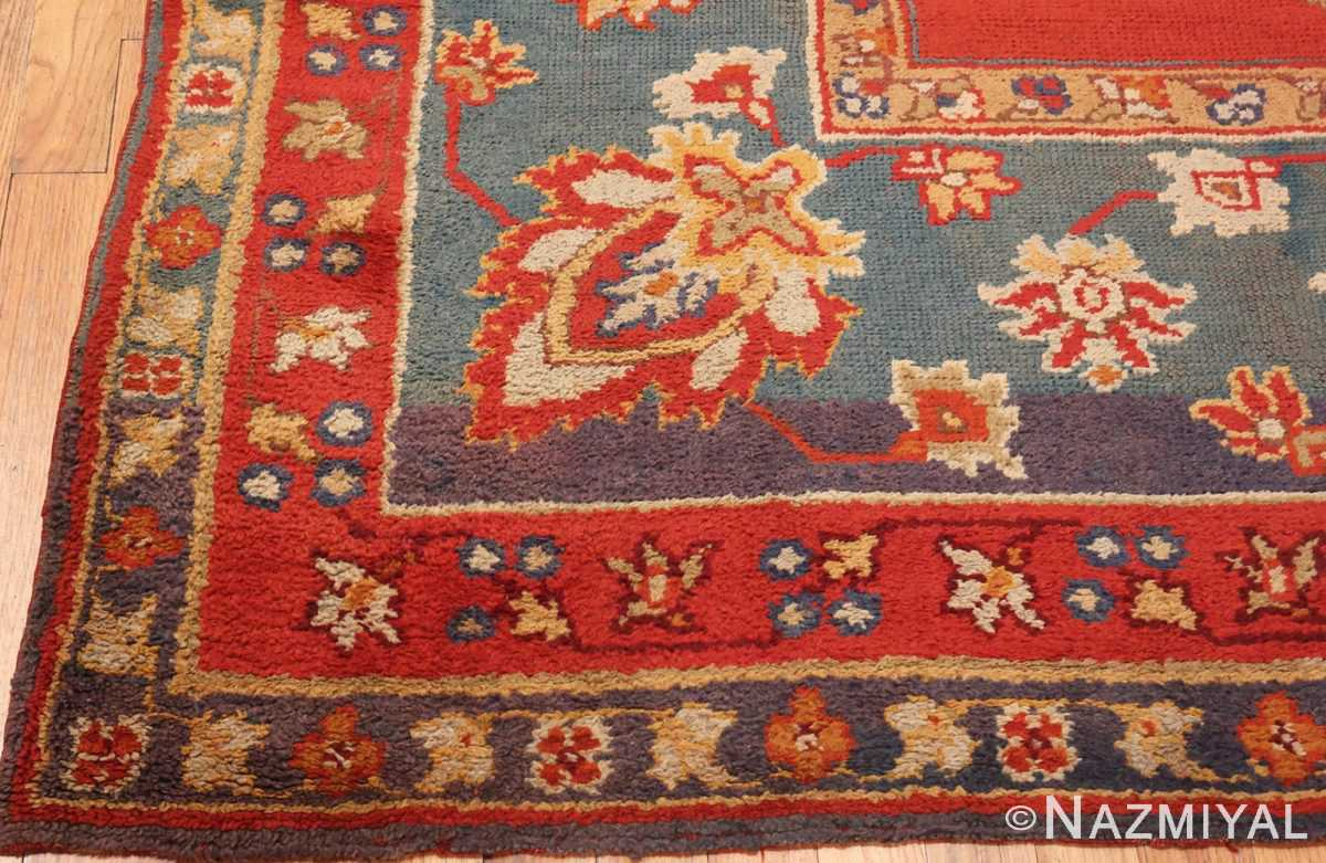 Picture of the Corner of Square Size Antique Irish Donegal Rug #3328 From Nazmiyal Antique Rugs In NYC