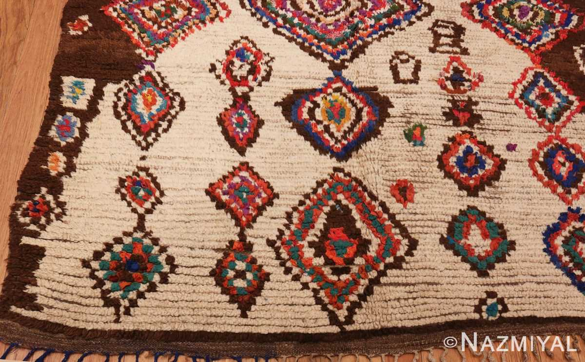 Picture of the Corner of Vintage Mid Century Folk Art Moroccan Rug #46512 From Nazmiyal Antique Rugs In NYC