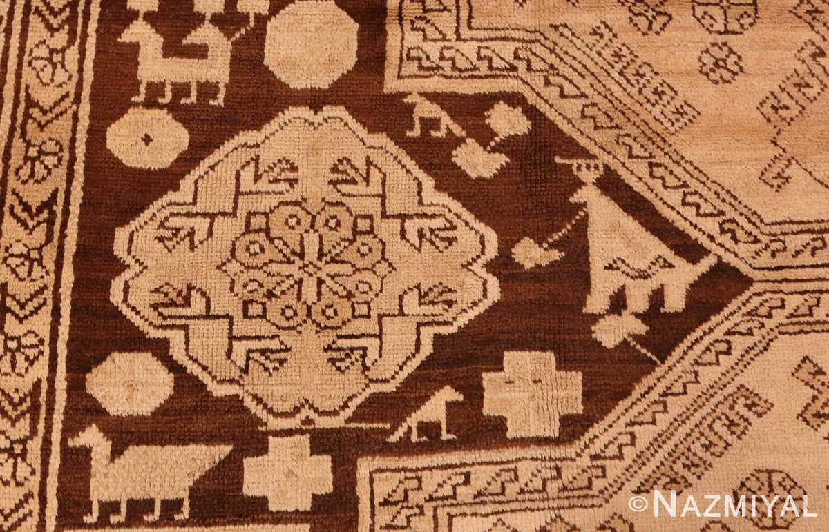 Detailed Picture of the design of Antique Caucasian Tribal Karabagh Rug #50494 from Nazmiyal Antique Rugs in NYC