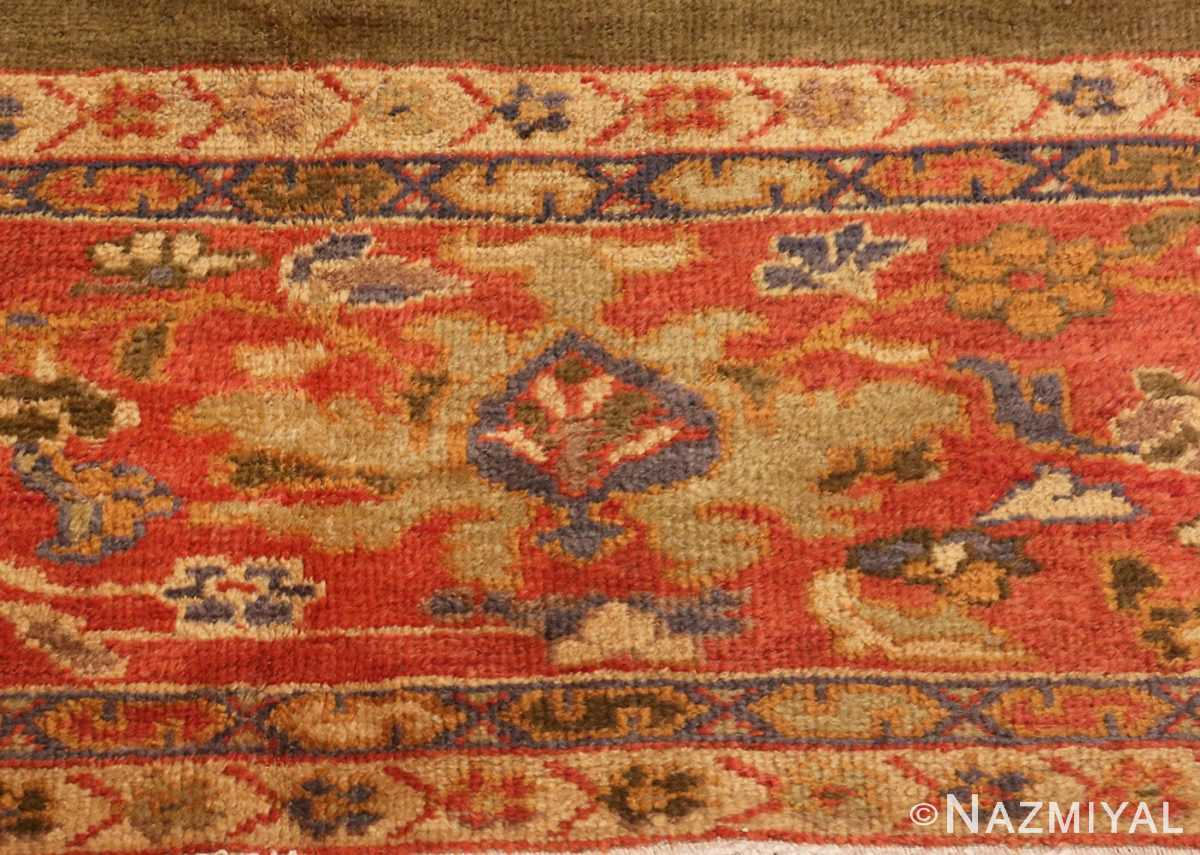 Detailed Close Up Picture of Antique Green Persian Sultanabad Rug #50335 From Nazmiyal Antique Rugs In NYC