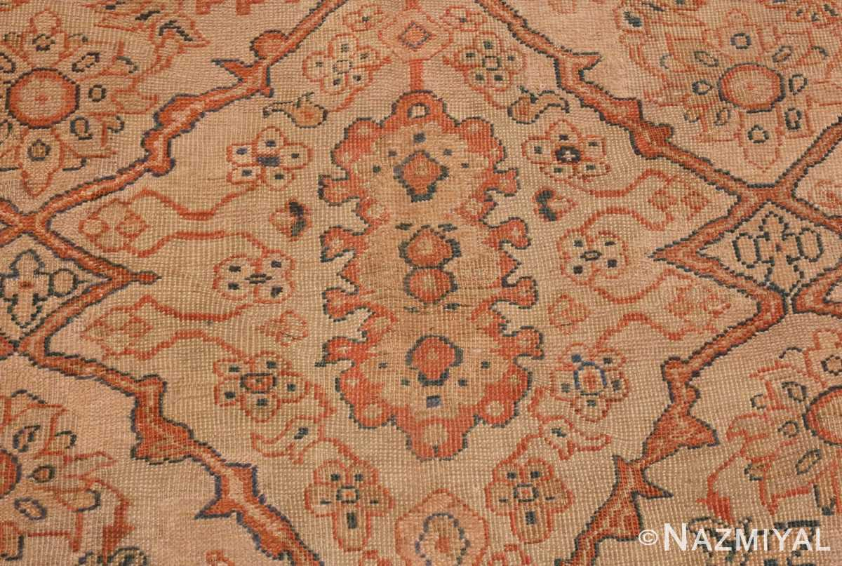 A detailed picture of Antique Ivory Persian Sultanabad rug #50576 from Nazmiyal Antique Rugs in NYC