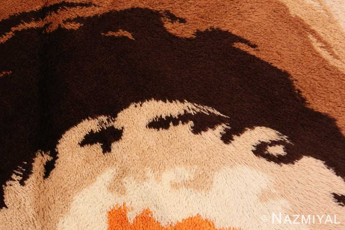 Detailed Picture of the Round Vintage Shaggy Swedish Rya Deco Rug #46614 From Nazmiyal Antique Rugs in NYC