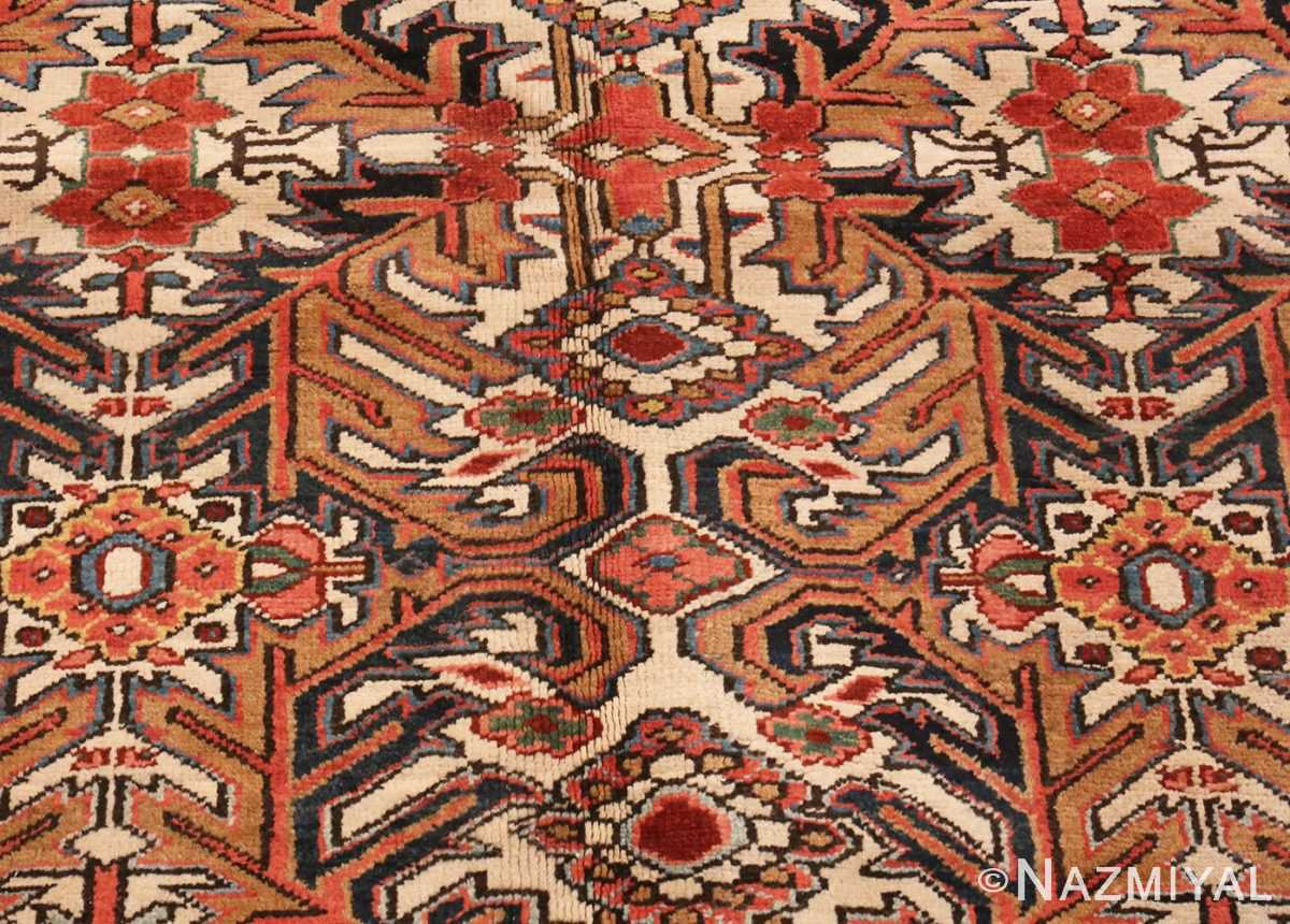 A detailed picture of Antique Persian Heriz rug #47160 from Nazmiyal Antique Rugs in NYC