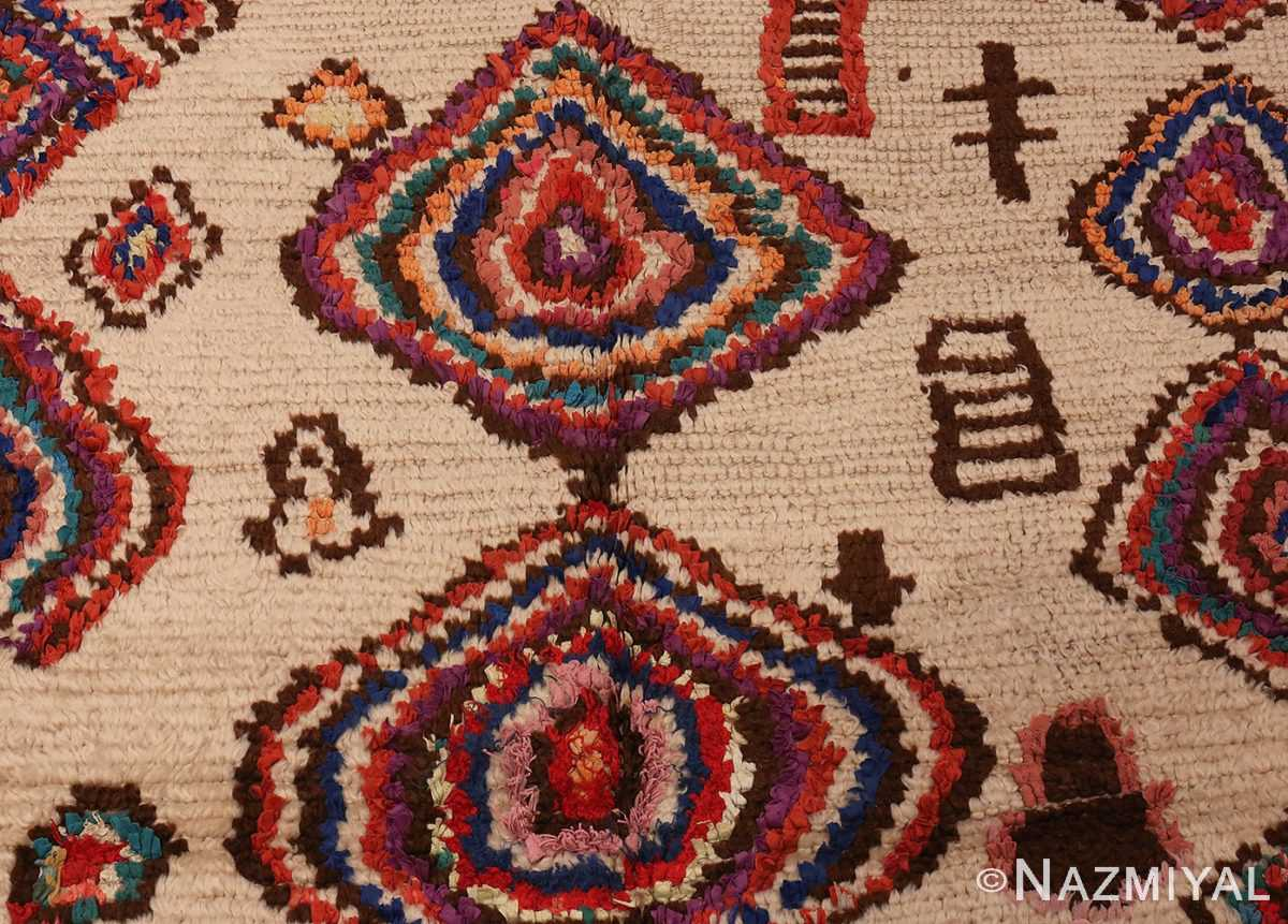 Detailed Picture of Vintage Mid Century Folk Art Moroccan Rug #46512 From Nazmiyal Antique Rugs In NYC