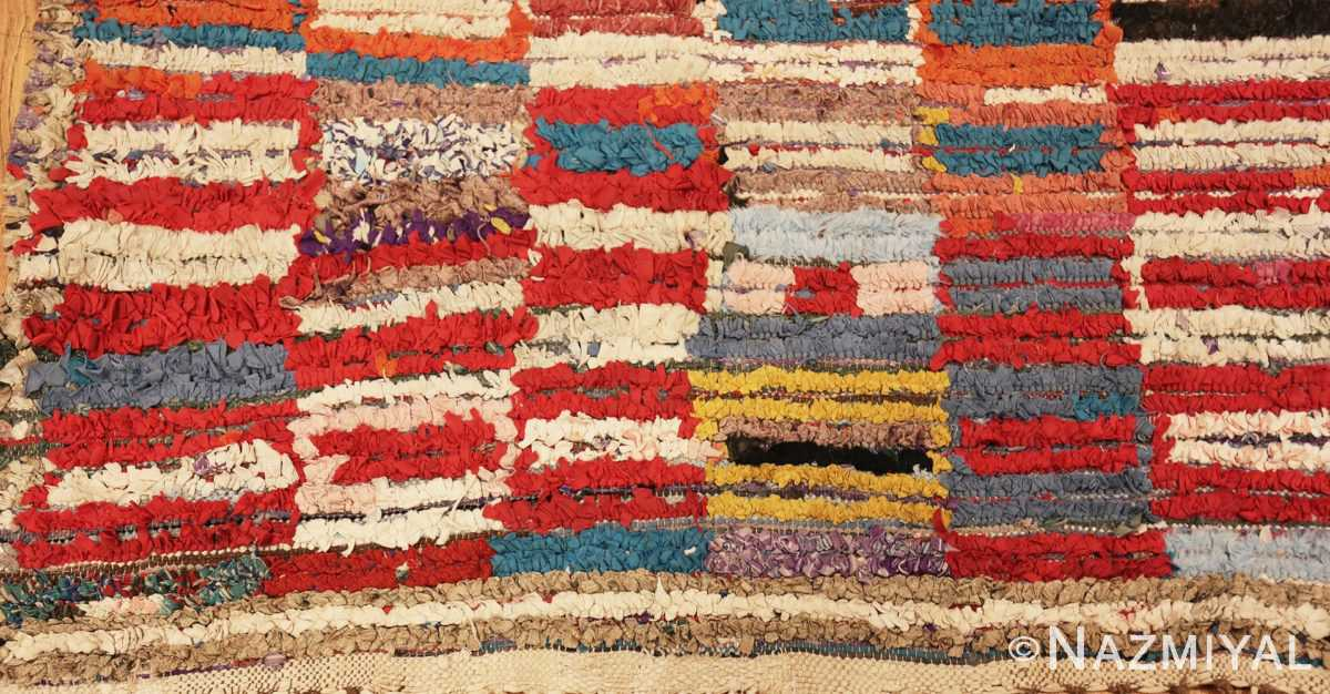 Close Up Detailed Picture of Vintage Moroccan Rag Rug #45728 From Nazmiyal Antique Rugs In NYC