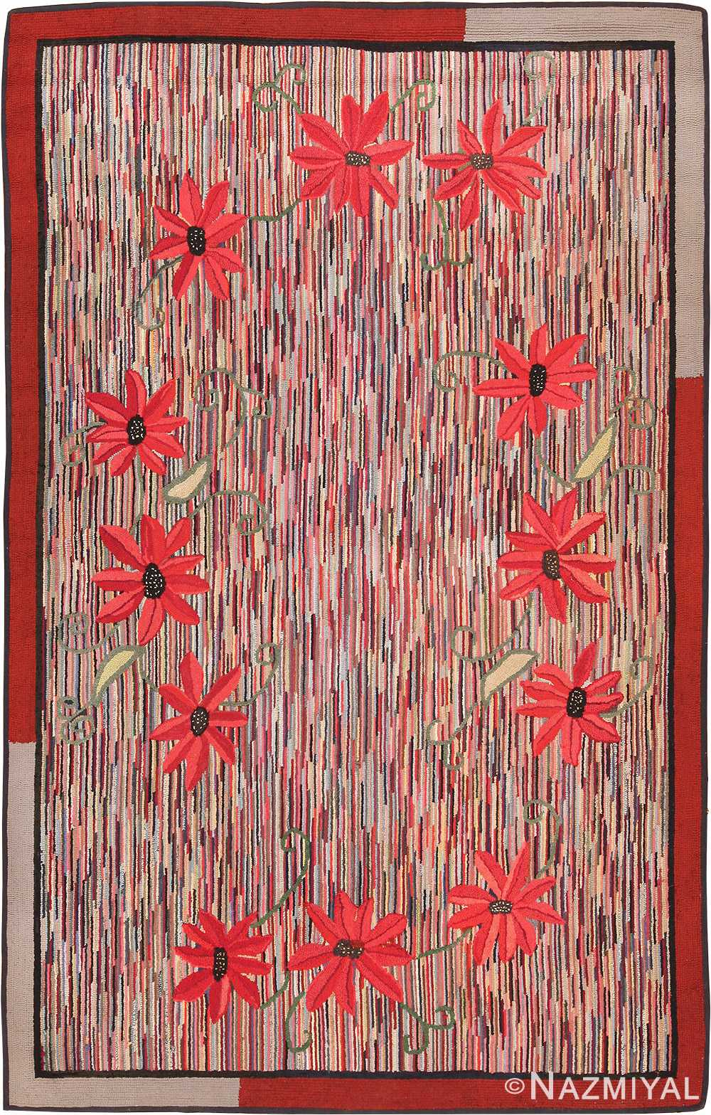 Picture of a Floral Antique American Hooked Rug #70055 from Nazmiyal Antique Rugs in NYC