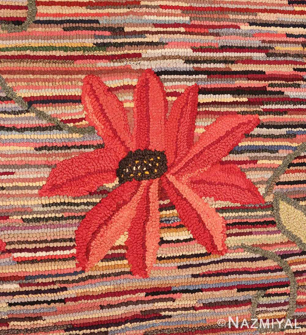 Picture of a flower from the Floral Antique American Hooked Rug #70055 from Nazmiyal Antique Rugs in NYC