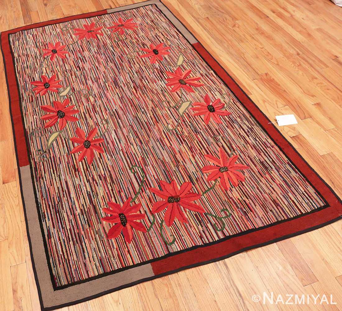 Full picture from the side of Floral Antique American Hooked Rug #70055 from Nazmiyal Antique Rugs in NYC