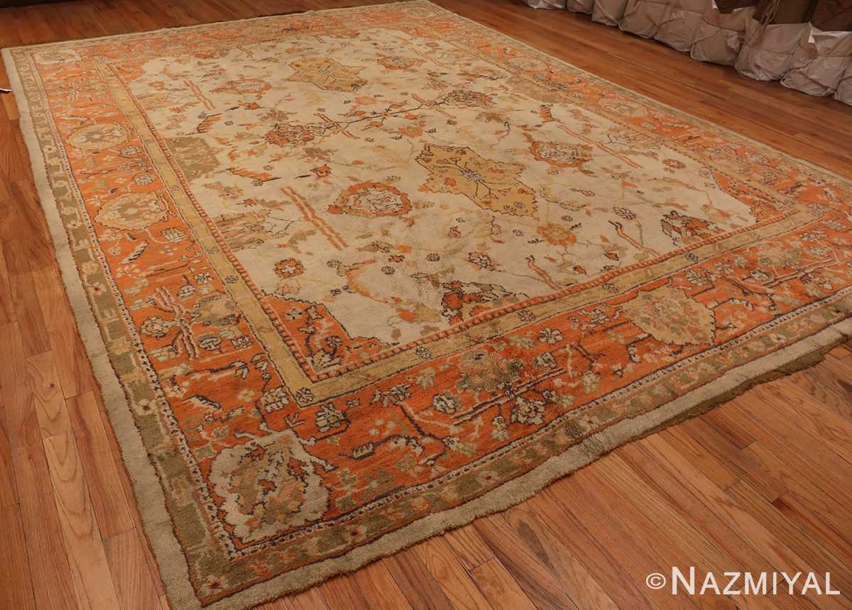 An Overall Picture from the side of Large Antique Turkish Oushak Rug #50674 from Nazmiyal Antique Rugs in NYC