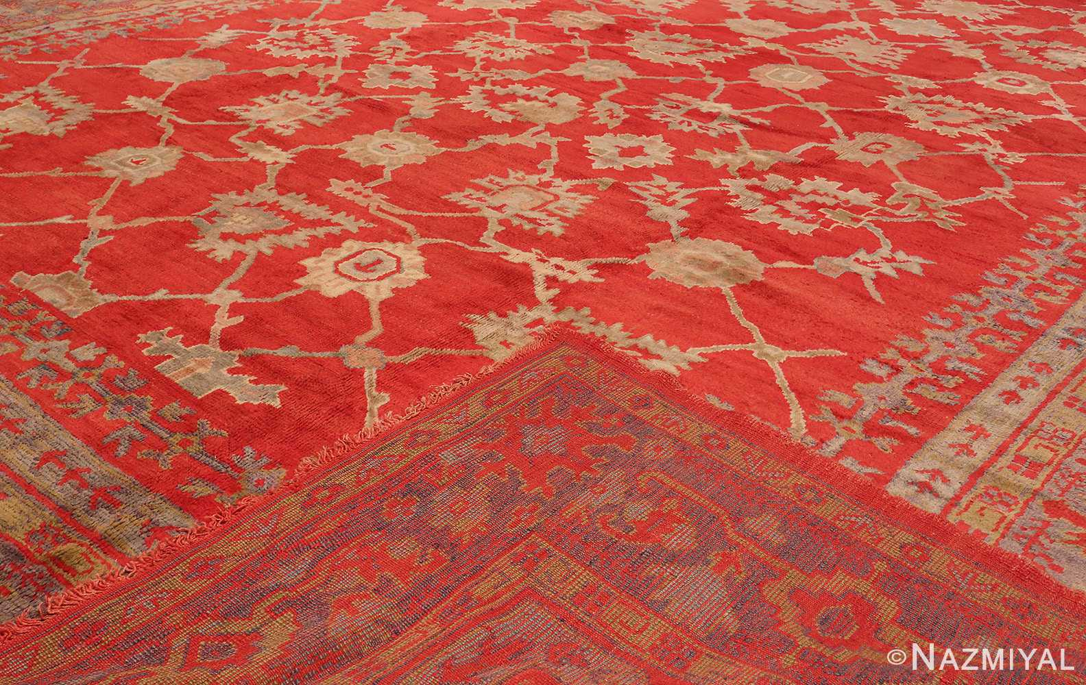 A Full Picture From The Size Of The Large Red Antique Turkish Oushak Rug #70012 From Nazmiyal Antique Rugs in NYC