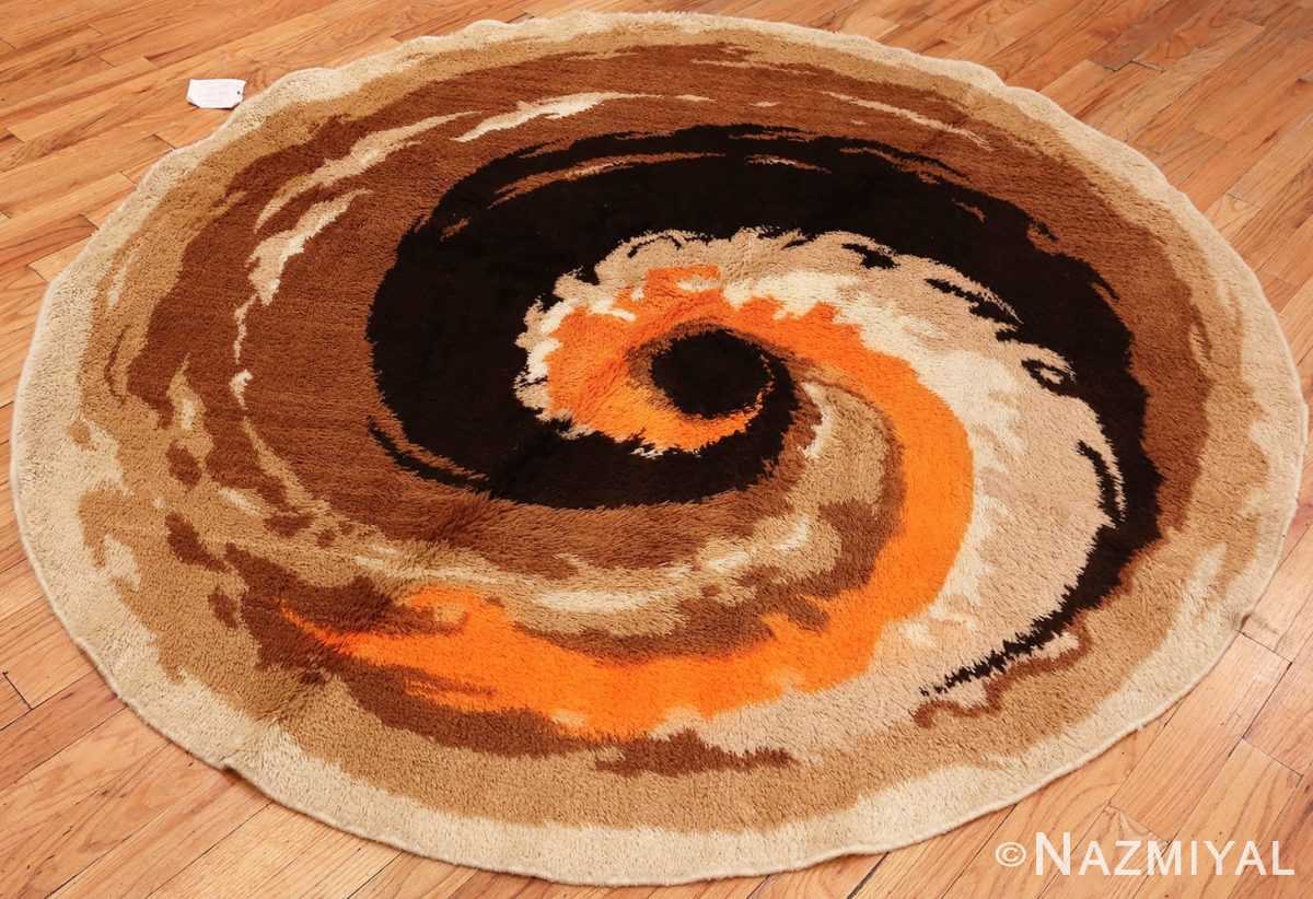 Overall Picture of the Round Vintage Shaggy Swedish Rya Deco Rug #46614 From Nazmiyal Antique Rugs in NYC