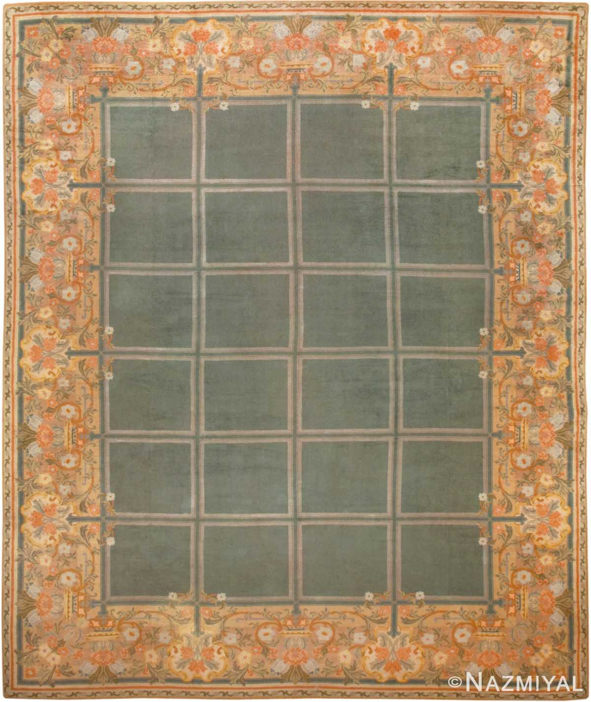 Picture of a Breathtaking Floral and Grid DesignLarge Size Green Background Color Antique Spanish Savonnerie Carpet #49845 from Nazmiyal Antique Rugs in NYC