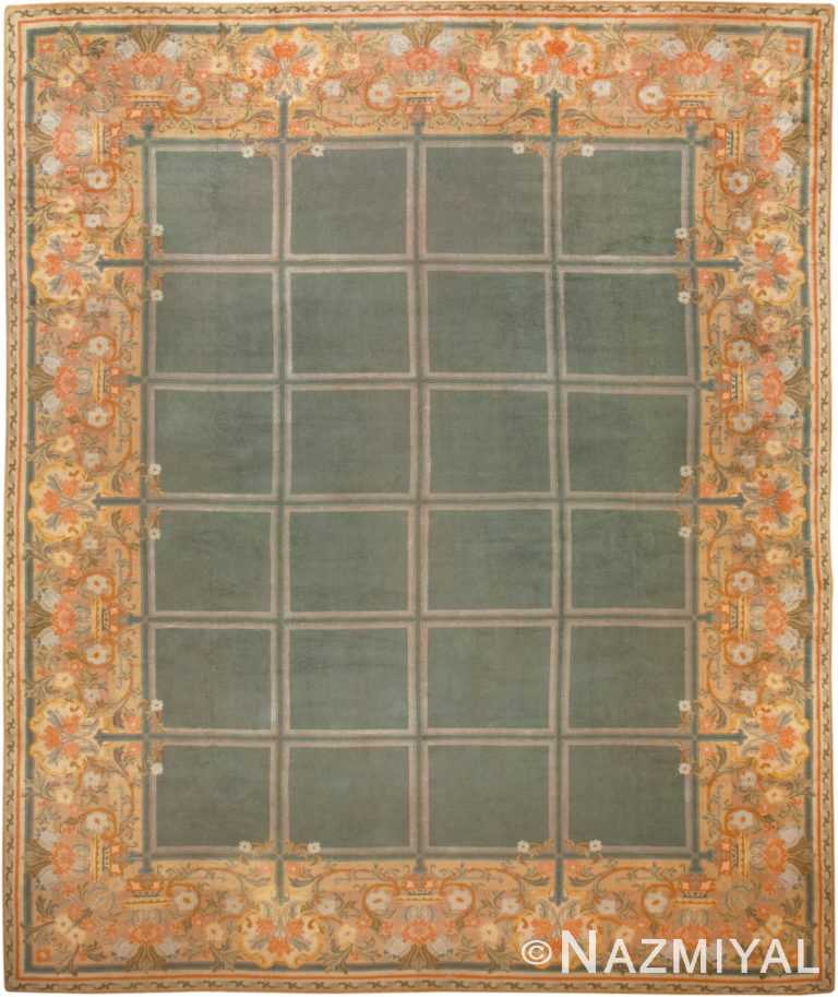 Picture of a Breathtaking Floral and Grid Design Large Size Green Background Color Antique Spanish Savonnerie Carpet #49845 from Nazmiyal Antique Rugs in NYC