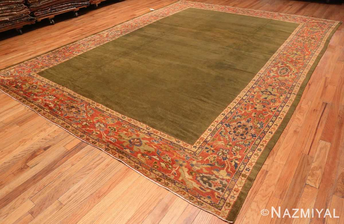 Overall Picture From The Side Of Antique Green Persian Sultanabad Rug #50335 From Nazmiyal Antique Rugs In NYC