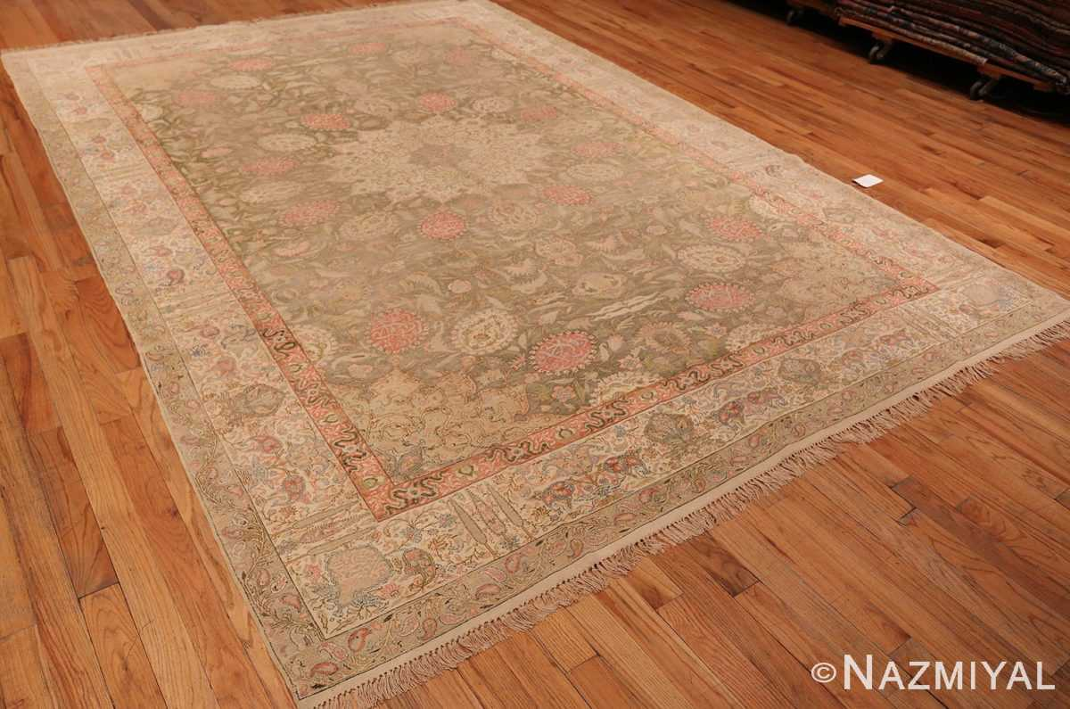 Overall Picture from the side of Antique Silk Turkish Kayseri Shabby Chic Rug #48938 From Nazmiyal Antique Rugs In NYC