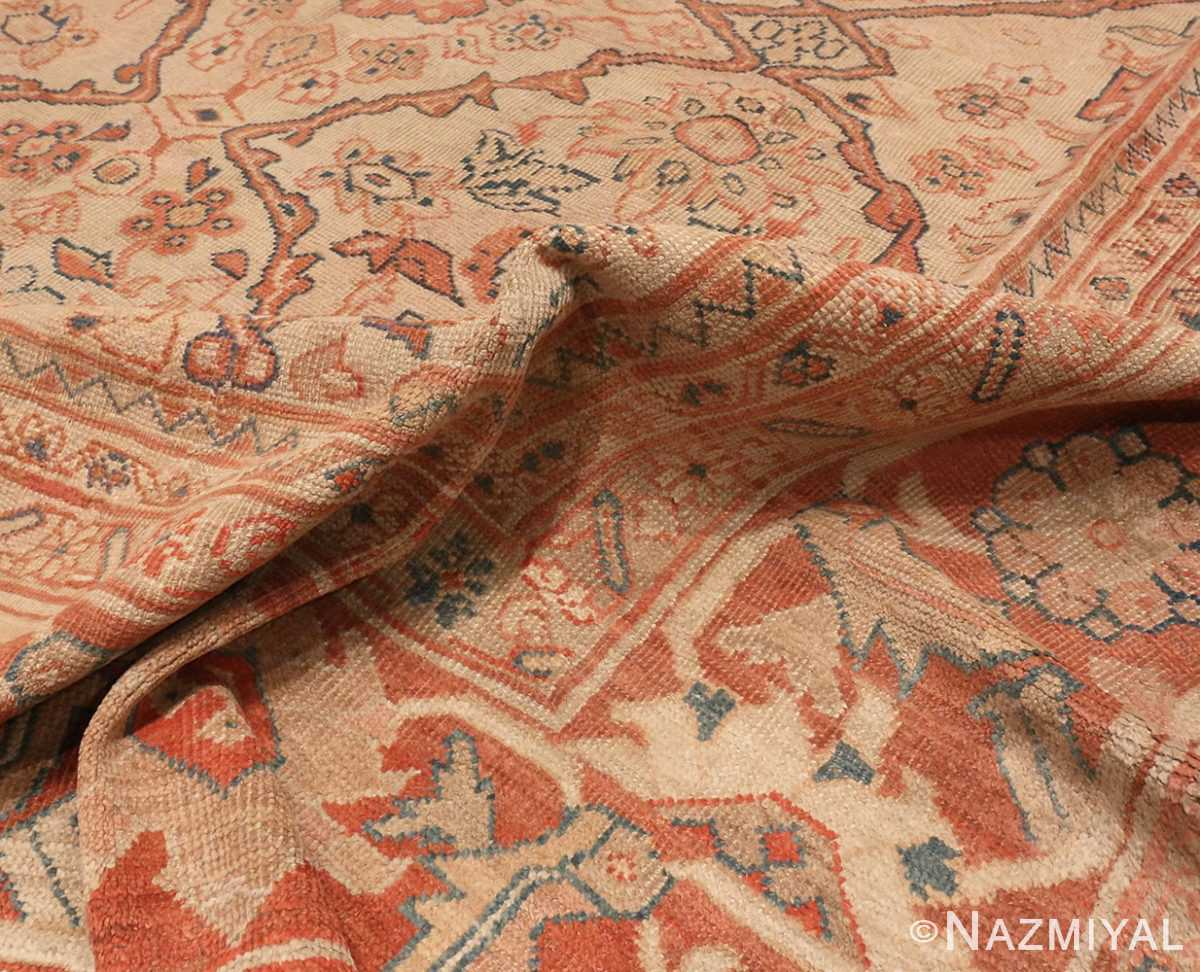 A picture of the pile of Antique Ivory Persian Sultanabad rug #50576 from Nazmiyal Antique Rugs in NYC