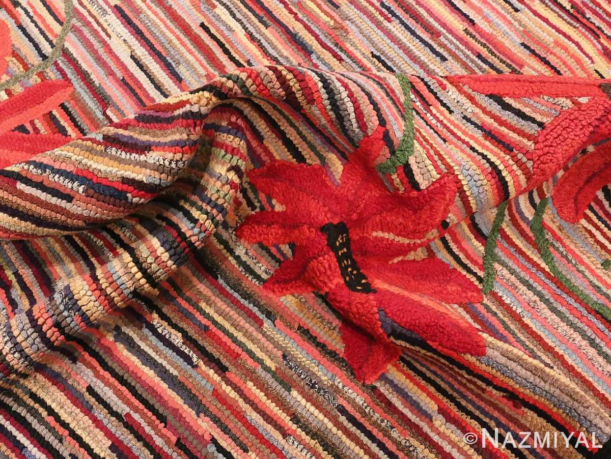 Picture of the pile of Floral Antique American Hooked Rug #70055 from Nazmiyal Antique Rugs in NYC