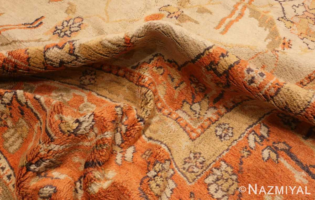 A Picture of the pile of Large Antique Turkish Oushak Rug #50674 from Nazmiyal Antique Rugs in NYC