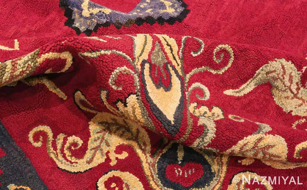 Picture of the Pile of red Medallion Design Antique American Hooked Rug #70059 from Nazmiyal Antique Rugs in NYC