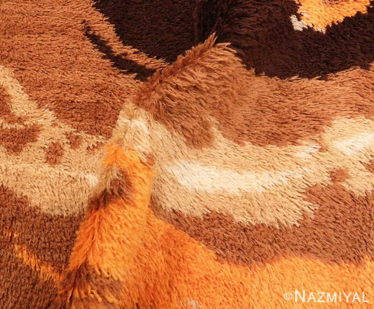 Picture of the Pile of Round Vintage Shaggy Swedish Rya Deco Rug #46614 From Nazmiyal Antique Rugs in NYC