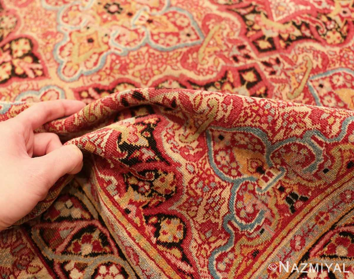 Picture of the pile of Small Antique Persian Kerman Rug #49990 From Nazmiyal Antique Rugs in NYC