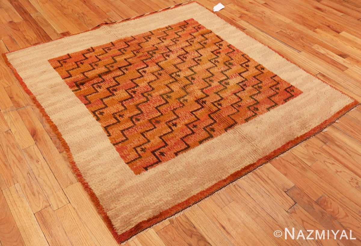 Overall Picture from the side of the square vintage Scandinavian Swedish Rug #40294 from Nazmiyal Antique Rugs in NYC