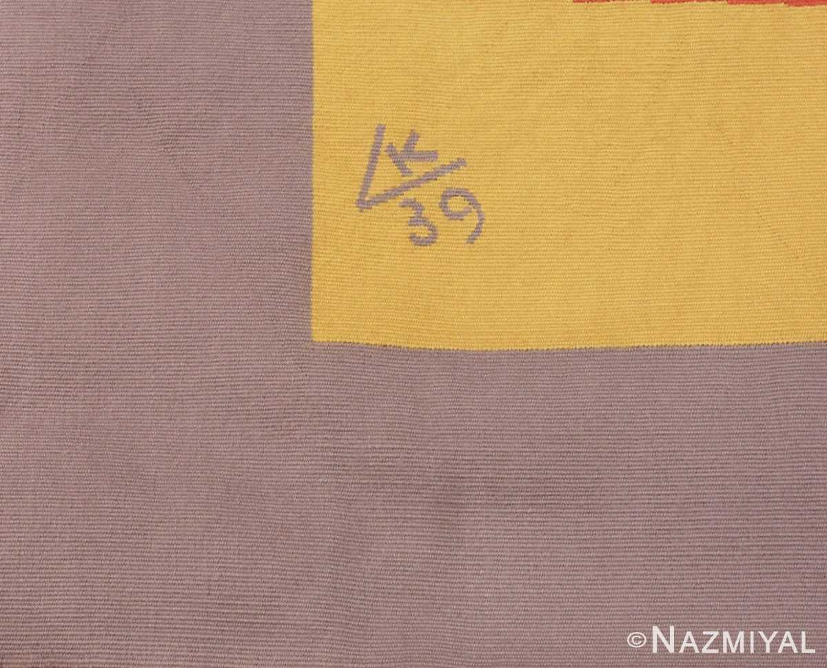 Picture of the Signature in French Bauhaus Wassily Kandinsky Tapestry 41278 From Nazmiyal Antique Rugs in NYC