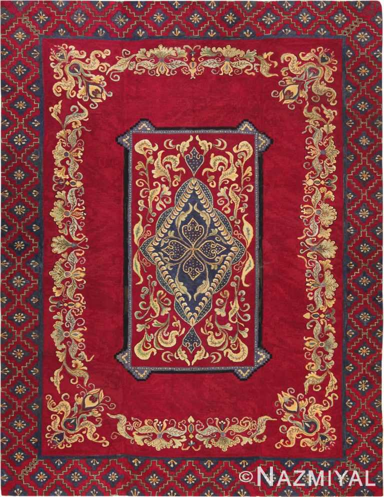 Picture of an impressive Room Size Red Antique American Hooked Rug #70059 from Nazmiyal Antique Rugs in NYC