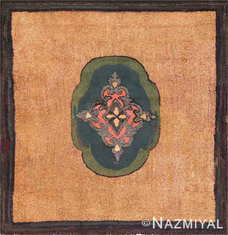 Picture of a Square Antique American Hooked Rug #70056 from Nazmiyal Antique Rugs in NYC
