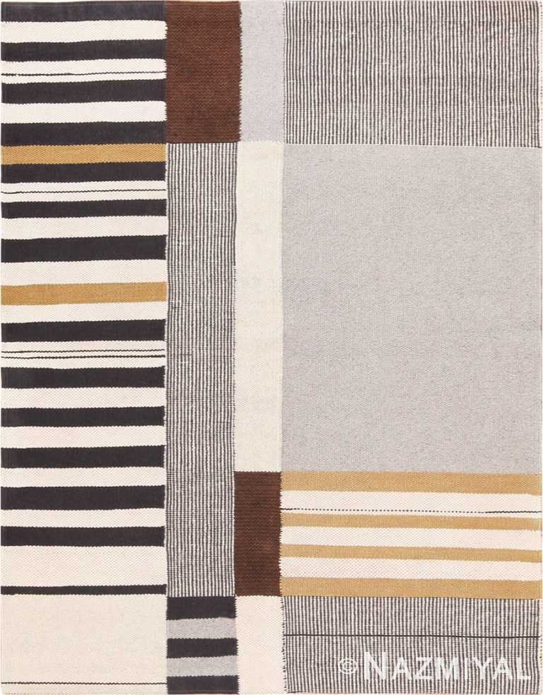 Picture of a Beautiful Vintage Flat Woven Kilim Carpet By Artist Alice Kagawa Parrott 70026 From Nazmiyal Antique rugs in NYC