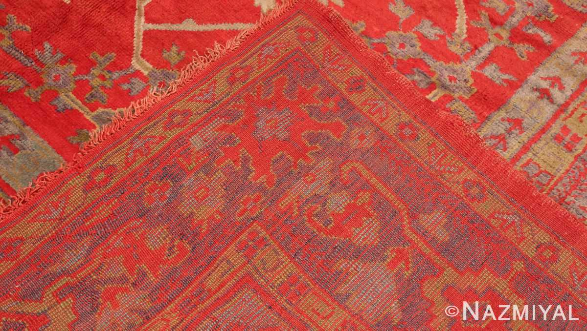 Picture of the Weave of Of Large Red Antique Turkish Oushak Rug #70012 From Nazmiyal Antique Rugs in NYC