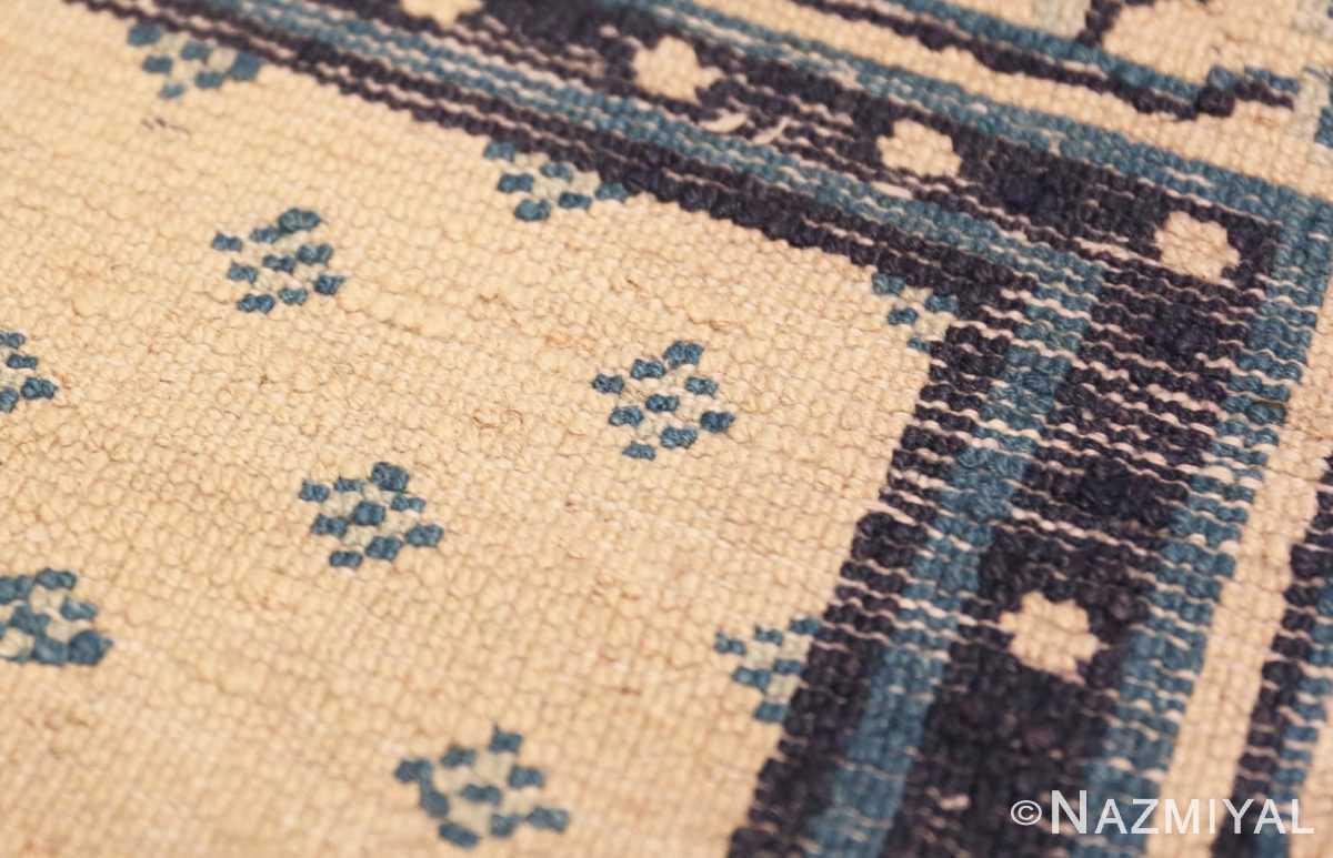 Weave detail Antique Ivory blue Peking Chinese runner rug 70060 by Nazmiyal
