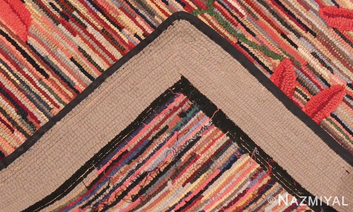 Picture of the weave of Floral Antique American Hooked Rug #70055 from Nazmiyal Antique Rugs in NYC