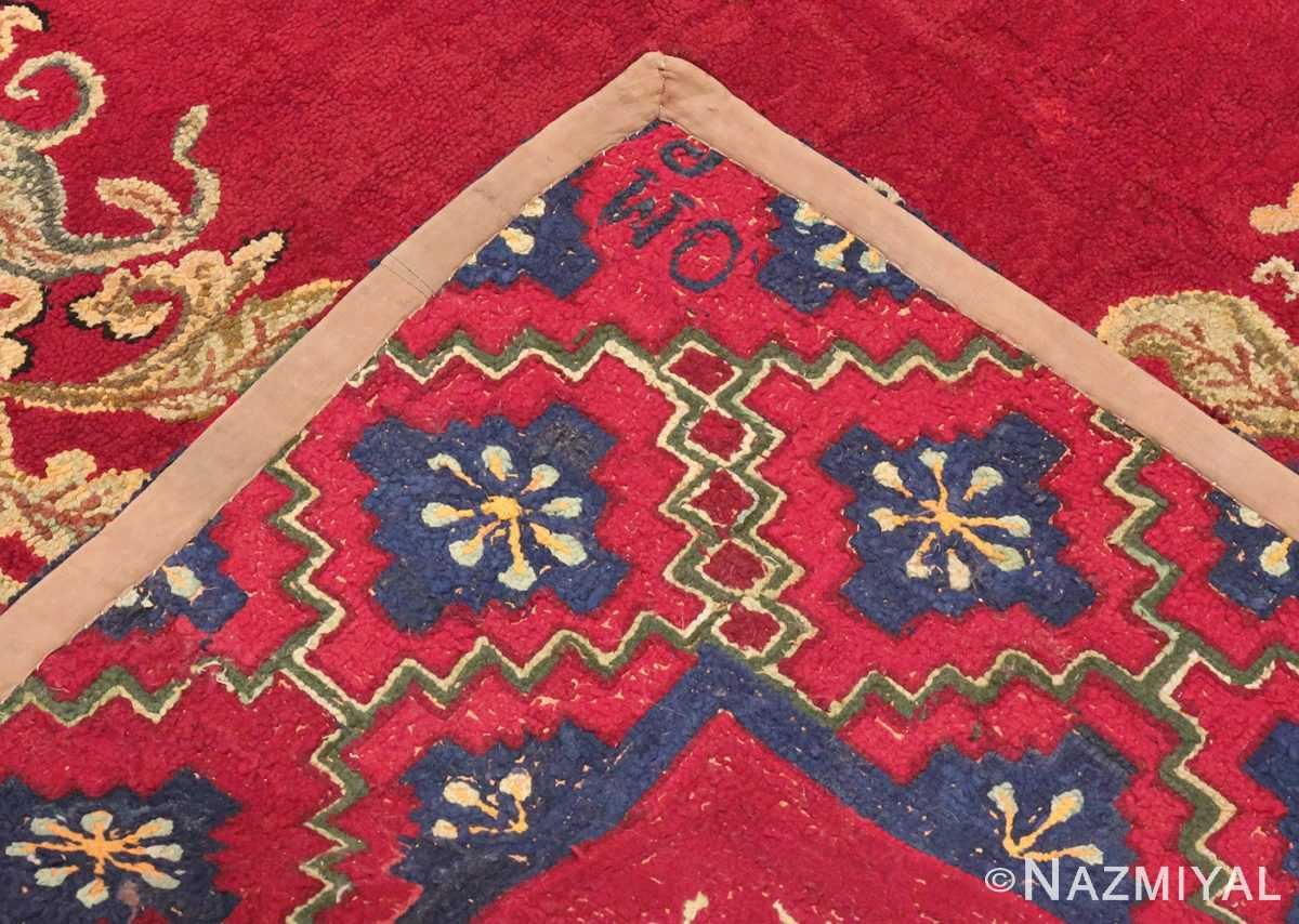 Picture of the Weave of red Medallion Design Antique American Hooked Rug #70059 from Nazmiyal Antique Rugs in NYC