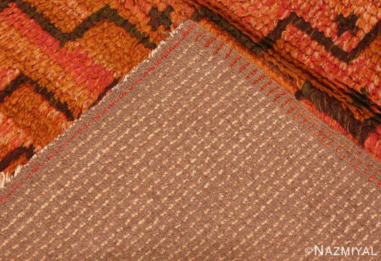 Picture of the weave of the square vintage Scandinavian Swedish Rug #40294 from Nazmiyal Antique Rugs in NYC