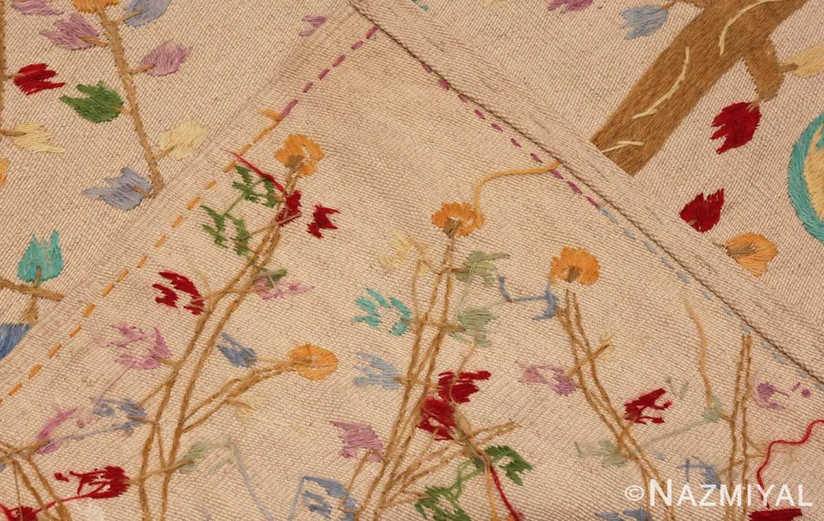 Picture of the weave of Vintage Garden of Paradise Indian Tapestry #70062 from Nazmiyal Antique Rugs in NYC