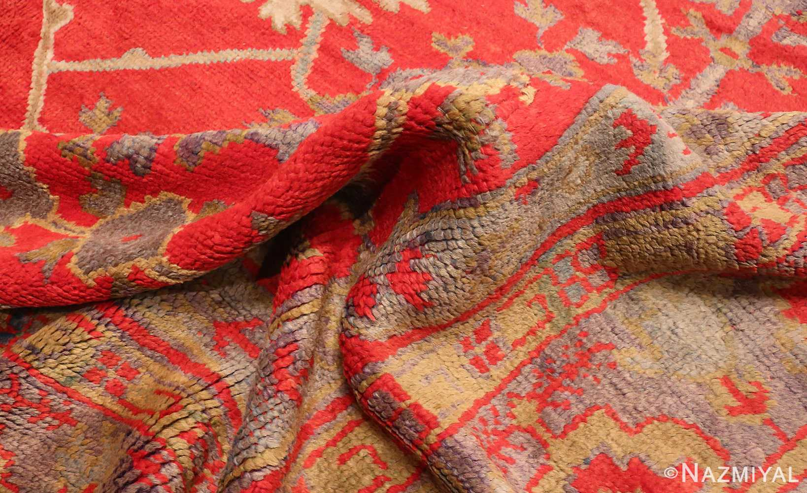 Picture of The Wool Pile Of The Large Red Antique Turkish Oushak Rug #70012 From Nazmiyal Antique Rugs in NYC